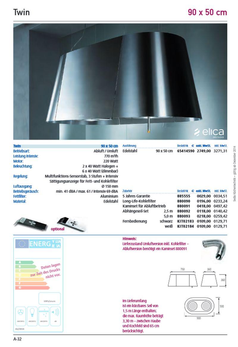Top Design Inselhaube ELICA Twin, 90×50 cm