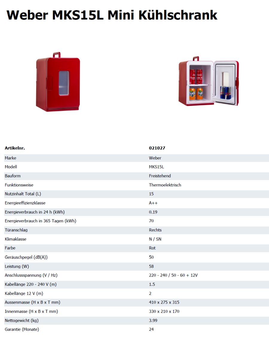 Weber Minikühlschrank 15 Liter A++ kaufen auf ricardo.ch