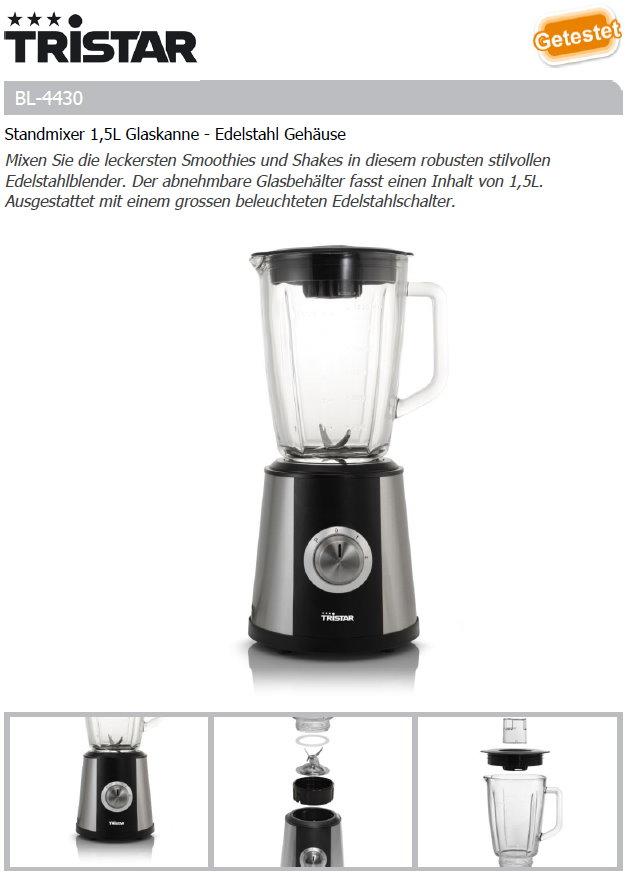standmixer 1 5l glaskanne edelstahl geh use bl 4430. Black Bedroom Furniture Sets. Home Design Ideas