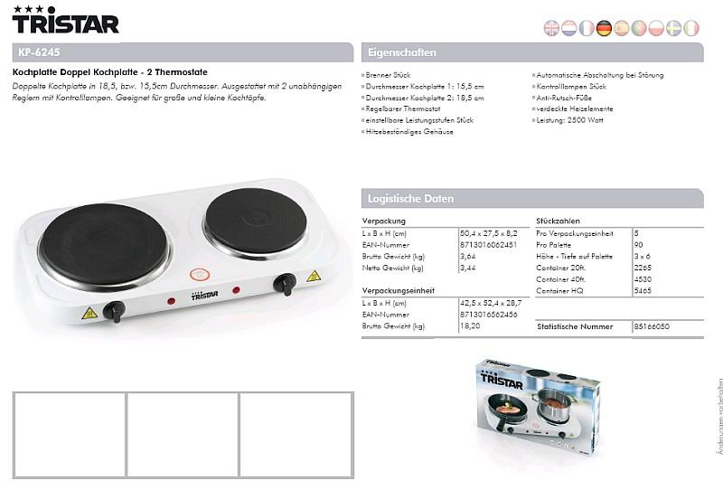tristar doppel kochplatte weiss kp 6245. Black Bedroom Furniture Sets. Home Design Ideas