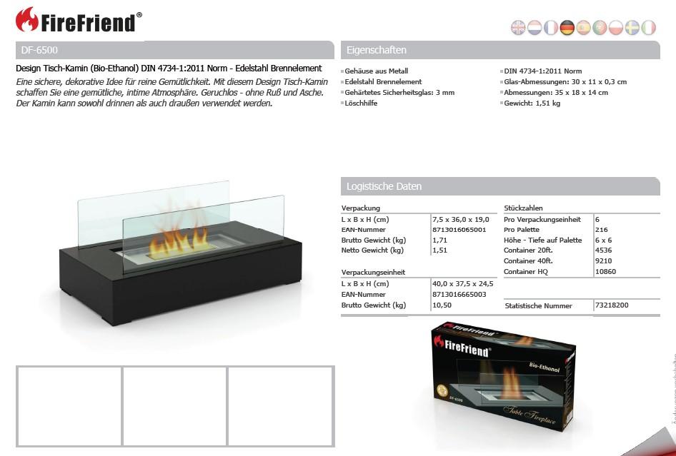Design TischKamin (BioEthanol) mit Norm Edelstahl