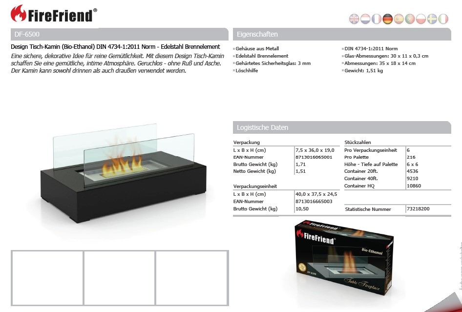 design tisch kamin bio ethanol mit norm edelstahl. Black Bedroom Furniture Sets. Home Design Ideas